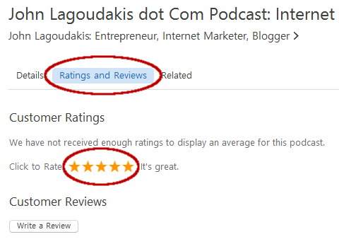 Rate the John Lagoudakis dot com Podcast on iTunes